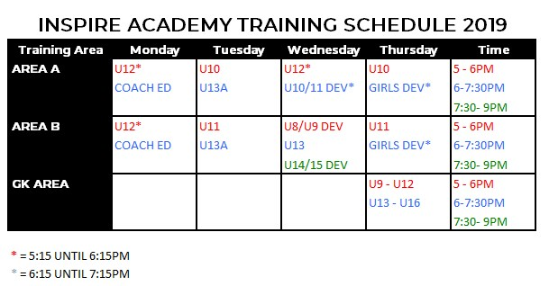 2019 TRAINING SCHEDULE INSPIRE