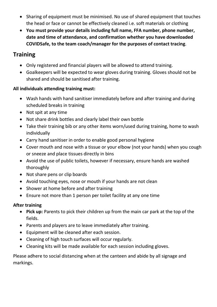 Club  Return to  Football  Parents and  Players  Info- 2